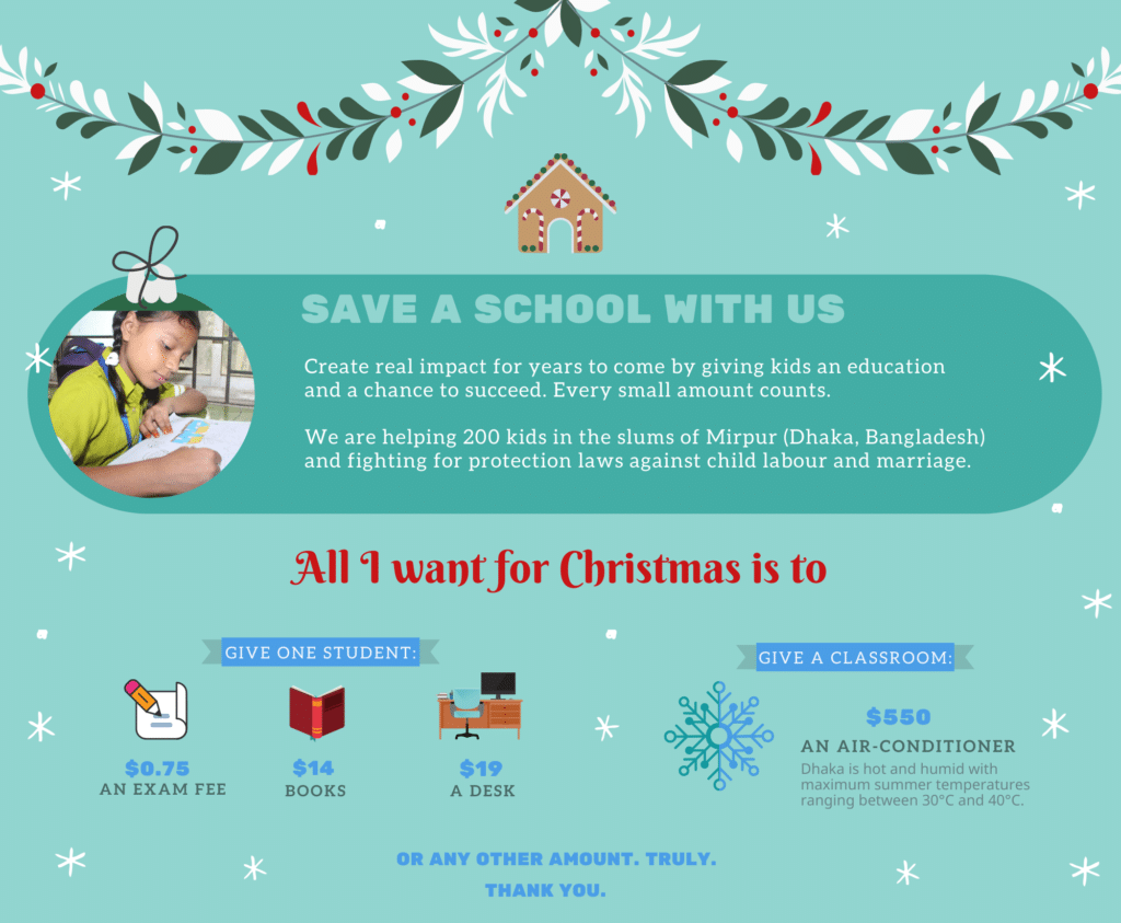 Save a School Christmas donation form