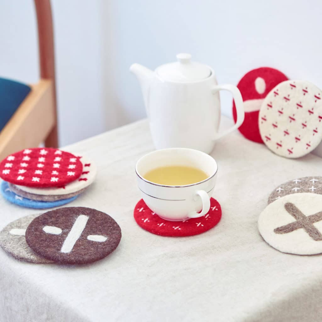 Felt coasters from our cooperative in Kyrgyzstan