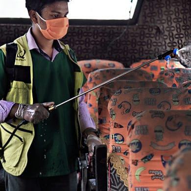 Disinfecting public transport in Bangladesh