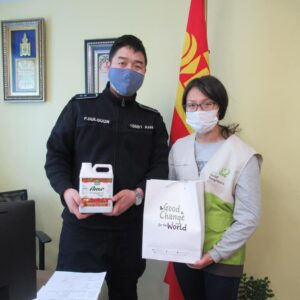Masks and sanitizer distribuition in Mongolia