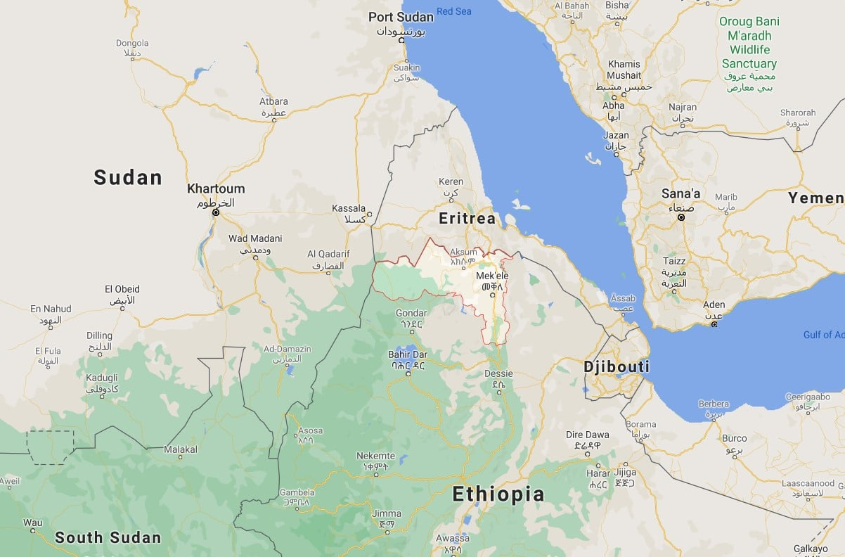 The Tigray conflict in Ethiopia has created a huge humanitarian crisis in the country, and led refugees into Sudan  - map data ©2021 Google - INEGI