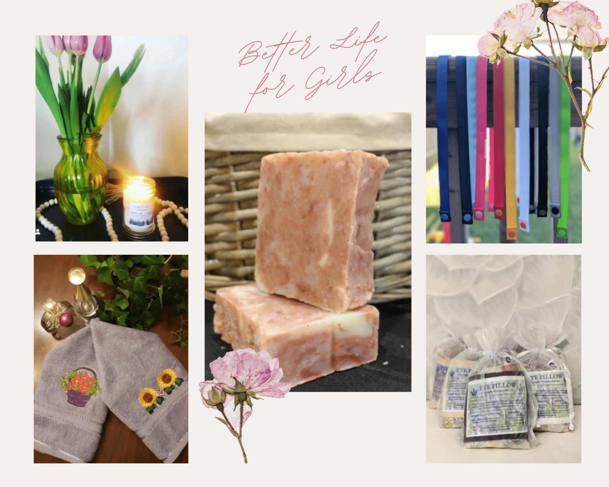 Pink Soft and Dainty Flowers Color Inspiration Moodboard Photo Collage