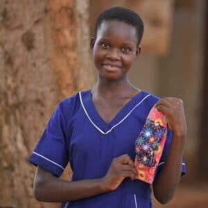 girl in uganda with sanitary pad