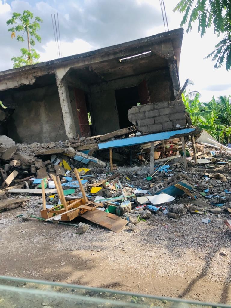 house destroyed in Haiti