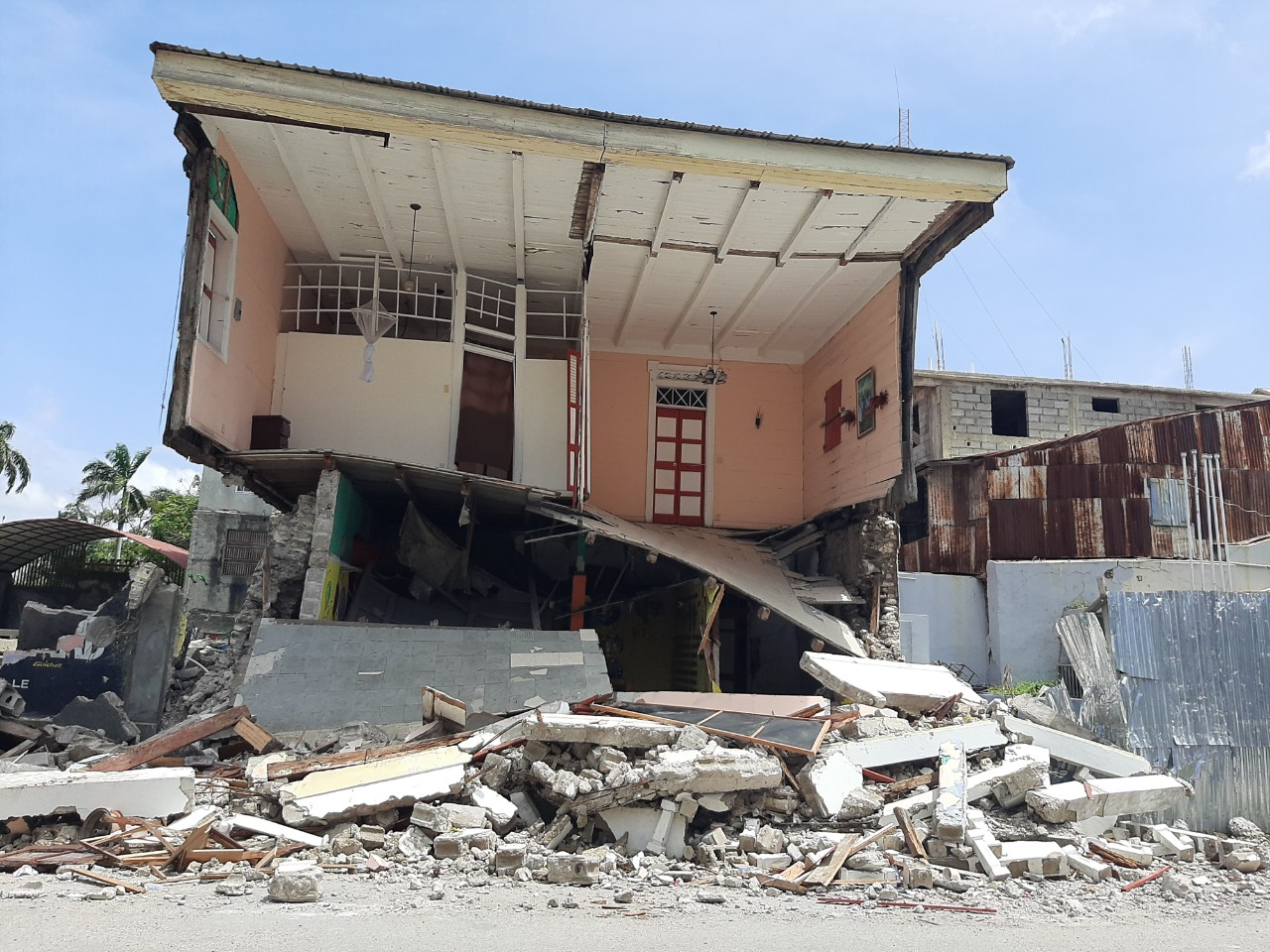 house destroyed after Haiti earthquake